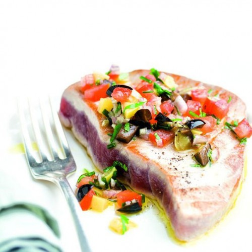 steak de thon sauce vierge la coriandre recette par suzy garnier paris kitchen club. Black Bedroom Furniture Sets. Home Design Ideas